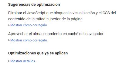 sugerencias de optimización